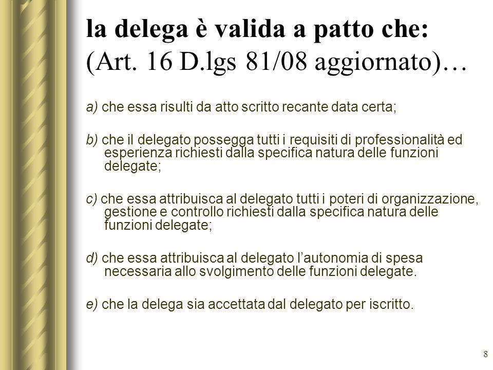 la delega è valida a patto che: (Art. 16 D.lgs 81/08 aggiornato)…