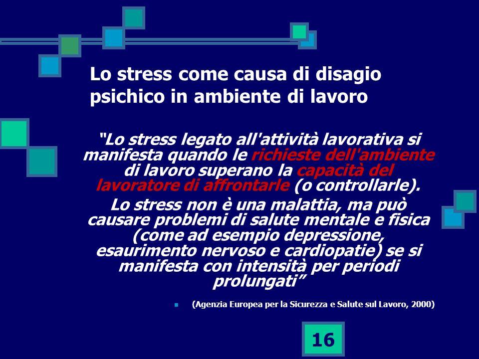 Lo stress come causa di disagio psichico in ambiente di lavoro