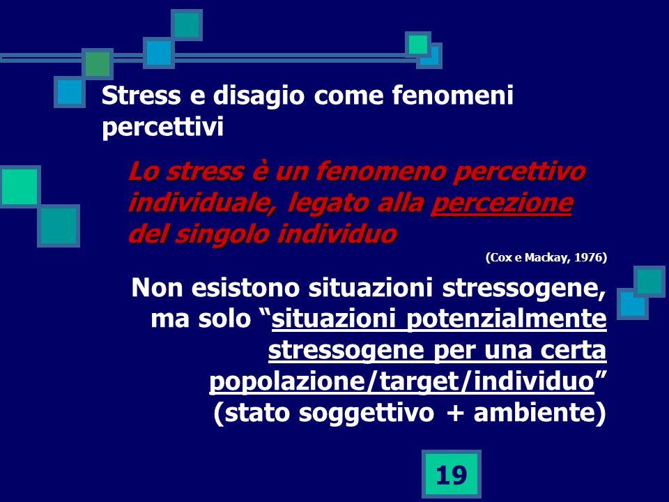 Stress e disagio come fenomeni percettivi