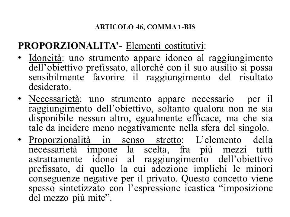PROPORZIONALITA'- Elementi costitutivi: