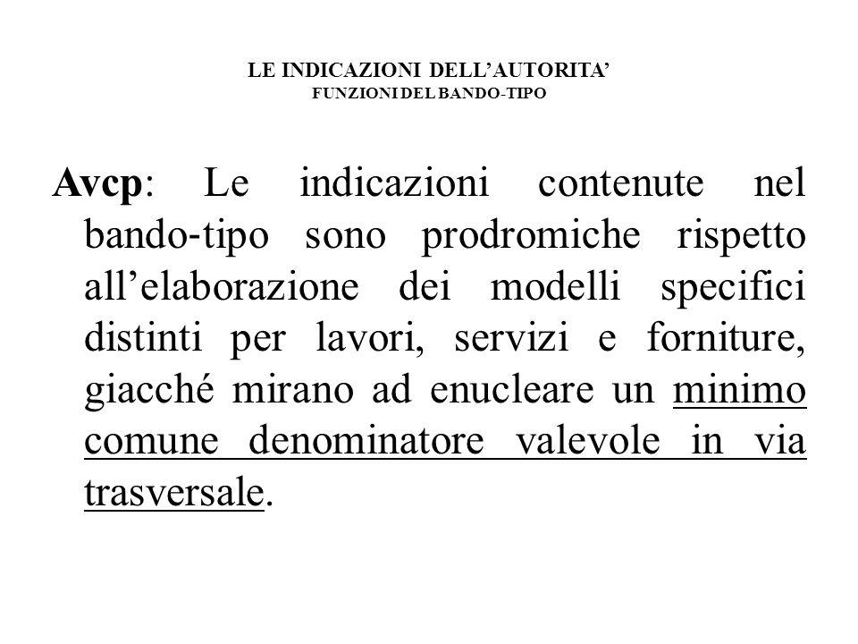 LE INDICAZIONI DELL'AUTORITA' FUNZIONI DEL BANDO-TIPO