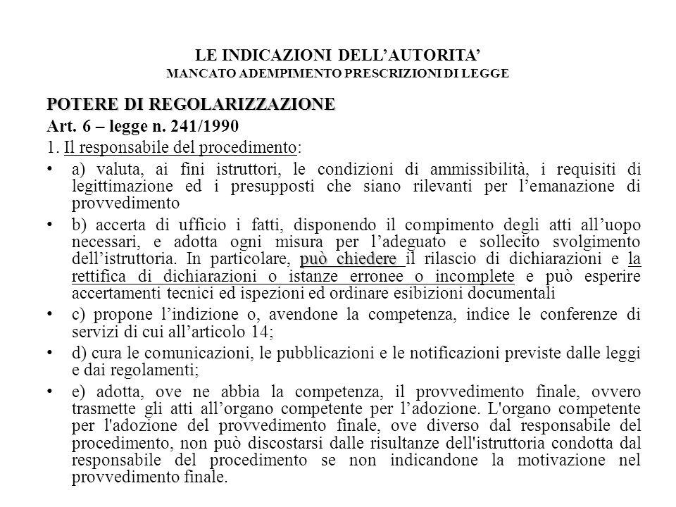 POTERE DI REGOLARIZZAZIONE Art. 6 – legge n. 241/1990