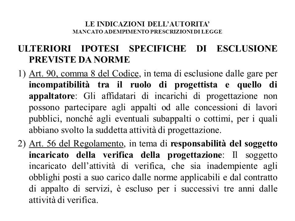 ULTERIORI IPOTESI SPECIFICHE DI ESCLUSIONE PREVISTE DA NORME