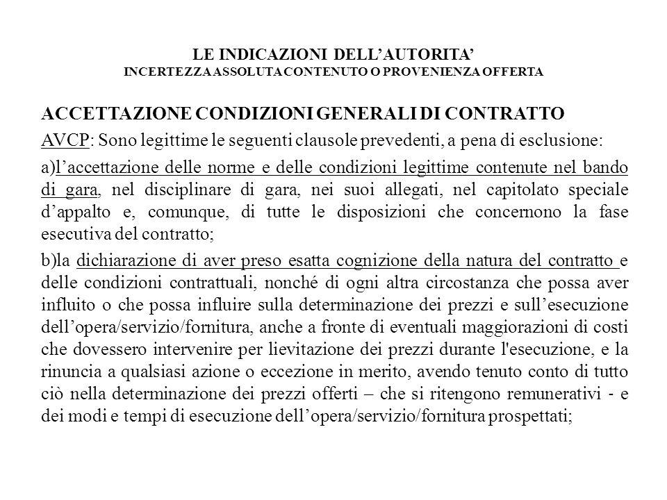 ACCETTAZIONE CONDIZIONI GENERALI DI CONTRATTO