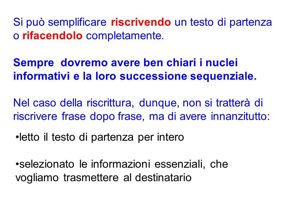 Si può semplificare riscrivendo un testo di partenza o rifacendolo completamente.