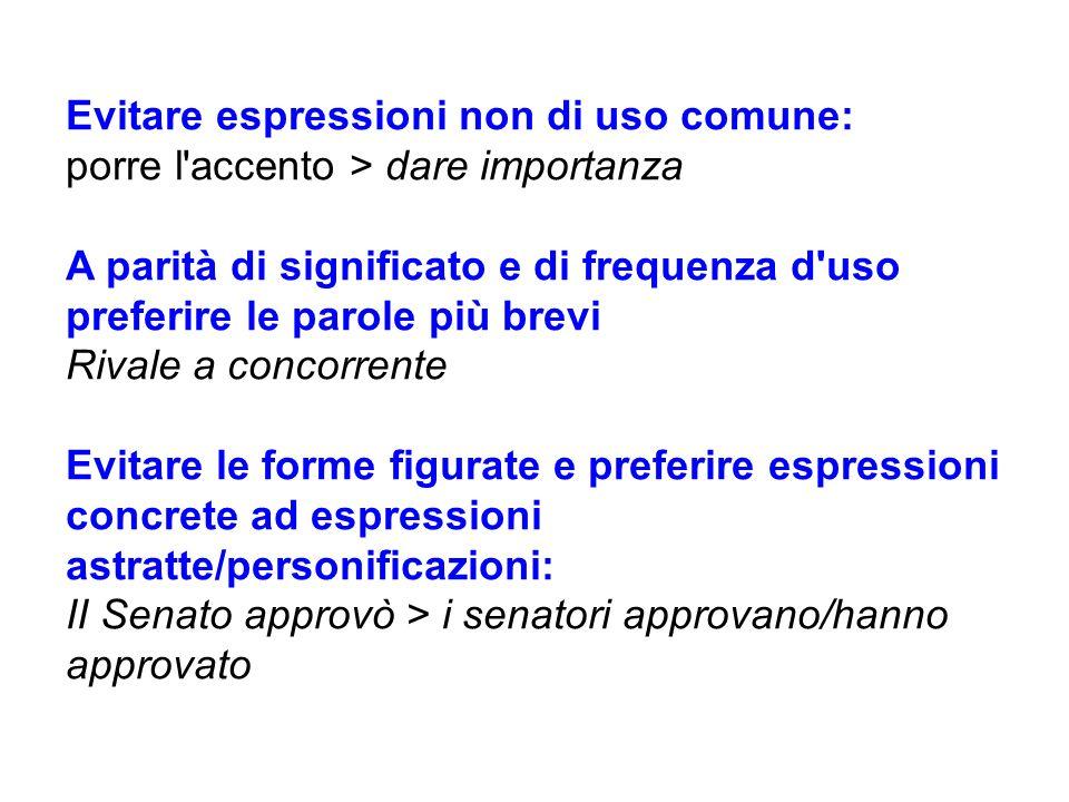 Evitare espressioni non di uso comune: