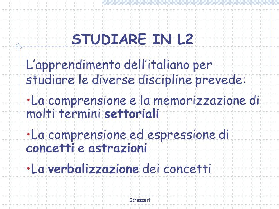 STUDIARE IN L2. L'apprendimento dell'italiano per studiare le diverse discipline prevede: