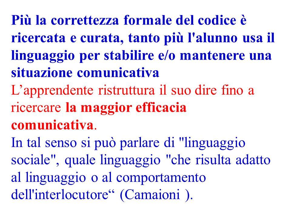 Più la correttezza formale del codice è ricercata e curata, tanto più l alunno usa il linguaggio per stabilire e/o mantenere una situazione comunicativa