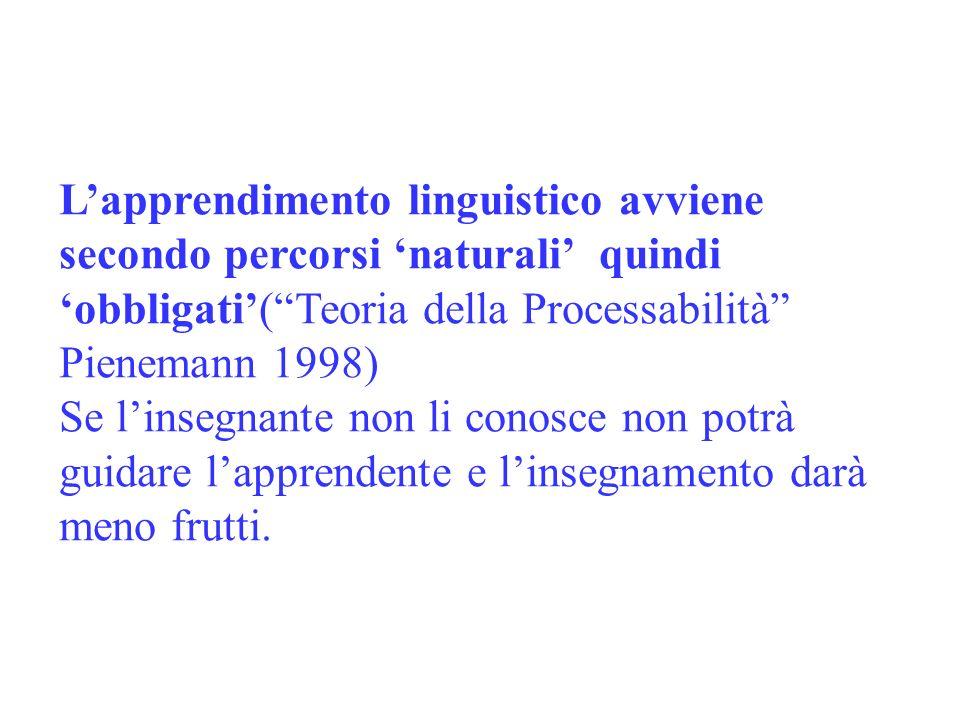 L'apprendimento linguistico avviene secondo percorsi 'naturali' quindi 'obbligati'( Teoria della Processabilità Pienemann 1998)
