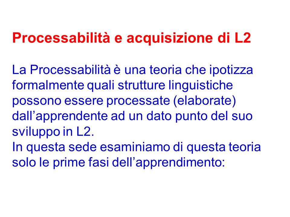 Processabilità e acquisizione di L2