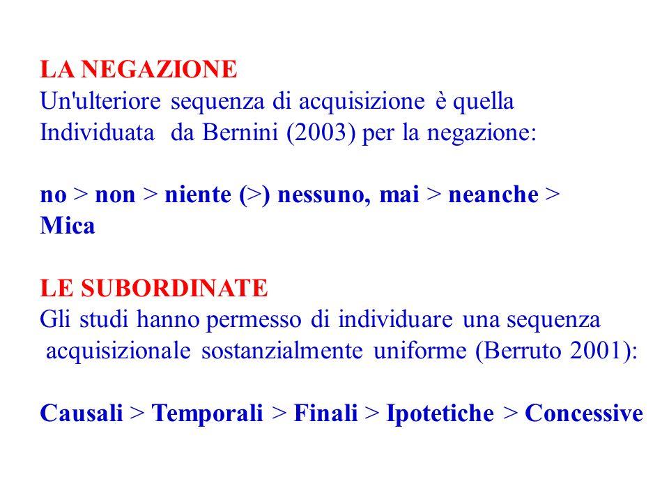 LA NEGAZIONE Un ulteriore sequenza di acquisizione è quella. Individuata da Bernini (2003) per la negazione: