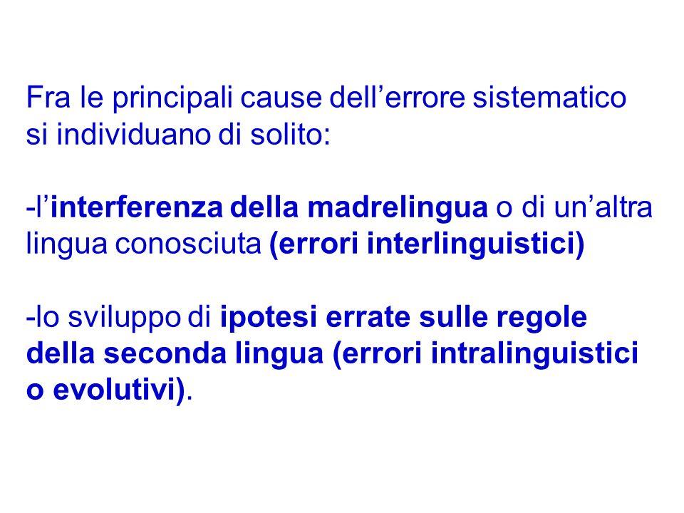 Fra le principali cause dell'errore sistematico si individuano di solito: