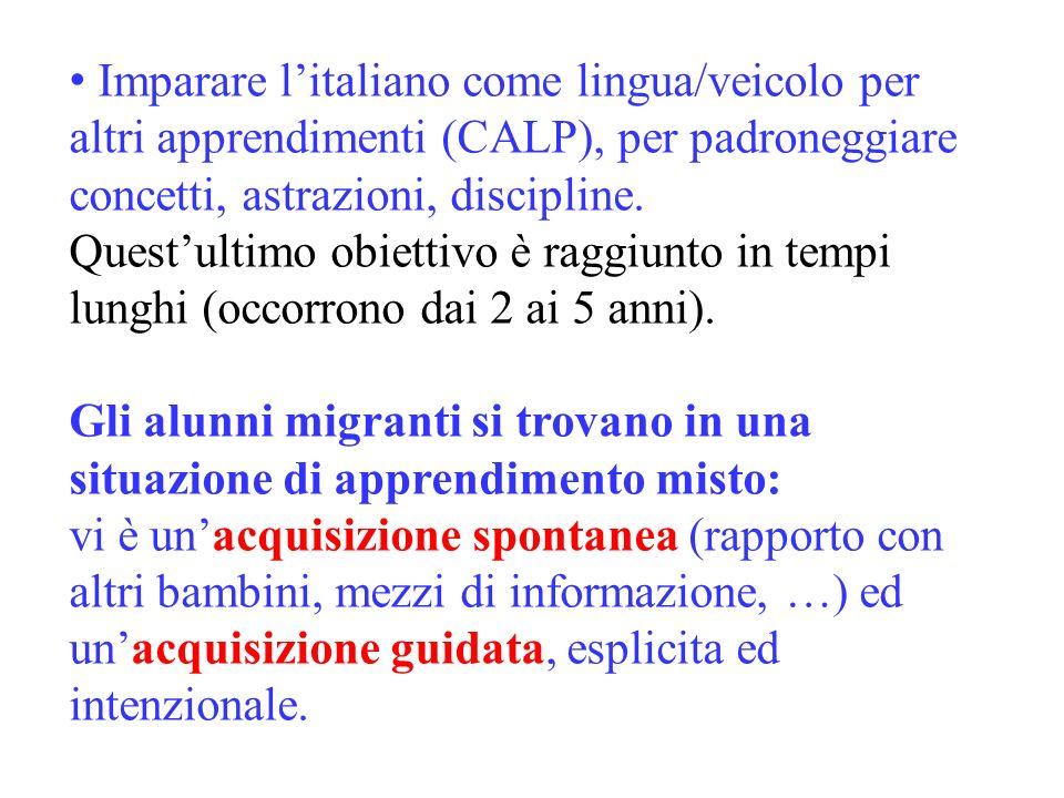 Imparare l'italiano come lingua/veicolo per altri apprendimenti (CALP), per padroneggiare concetti, astrazioni, discipline.