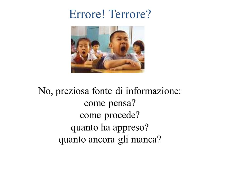 Errore! Terrore No, preziosa fonte di informazione: come pensa