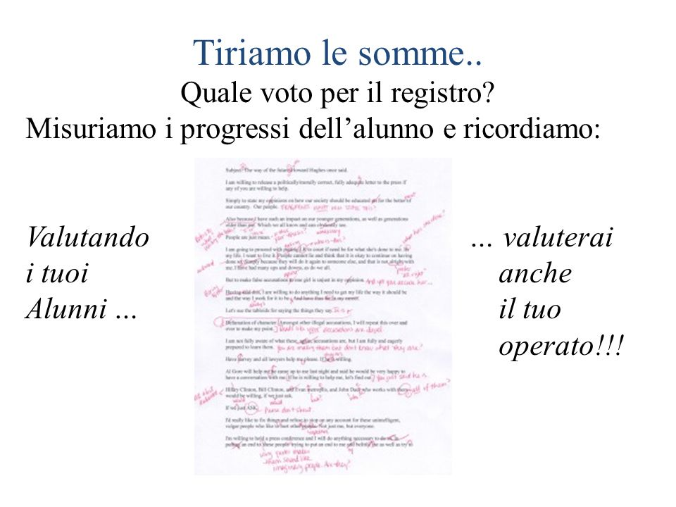 Quale voto per il registro