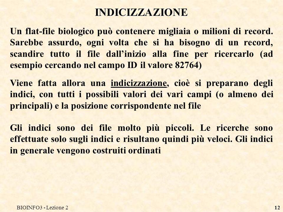 BIOINFO3 - Lezione2 INDICIZZAZIONE.