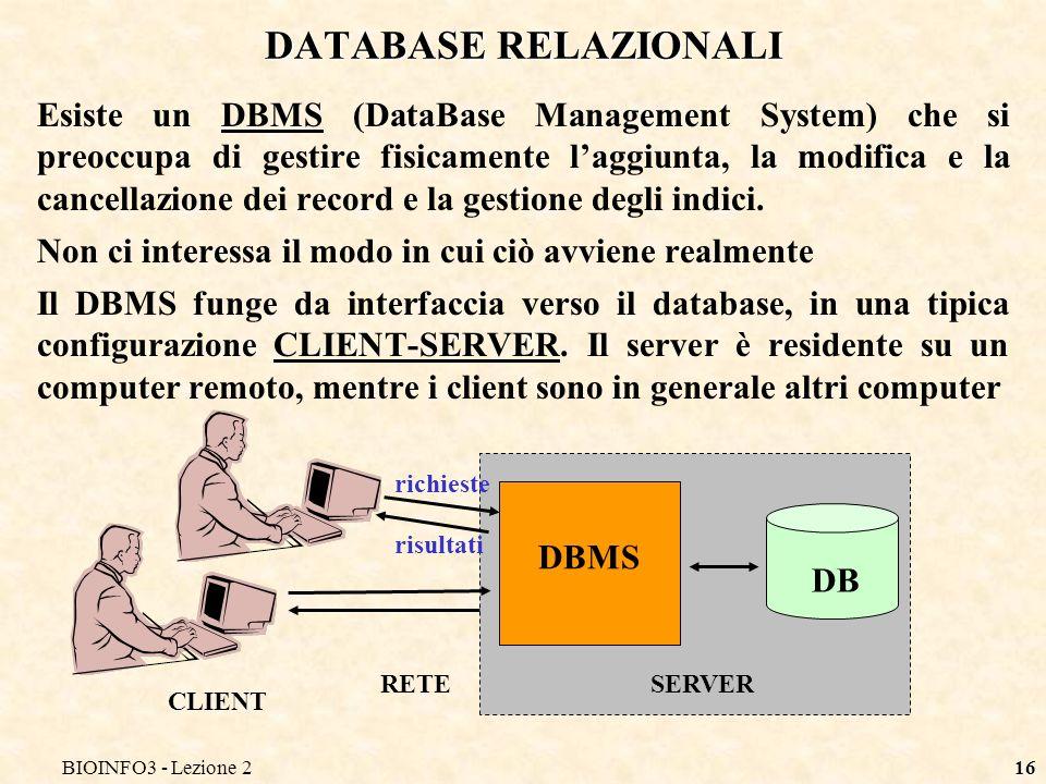 BIOINFO3 - Lezione2 DATABASE RELAZIONALI.