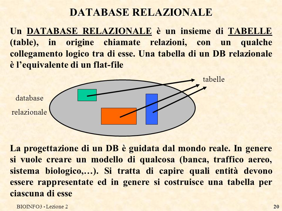 BIOINFO3 - Lezione2 DATABASE RELAZIONALE.