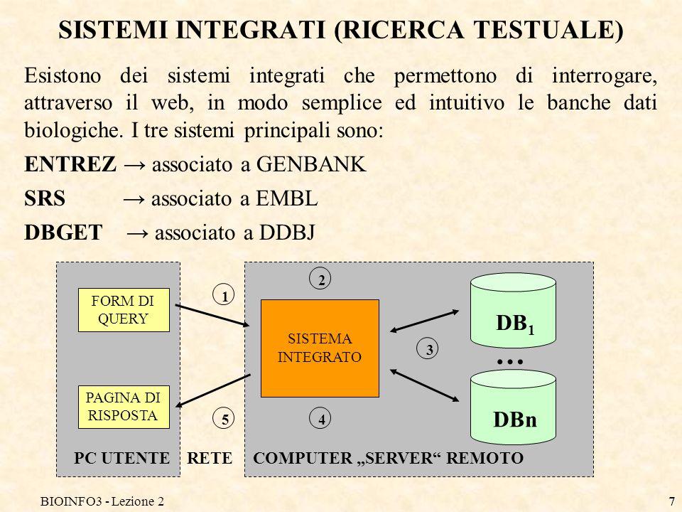 SISTEMI INTEGRATI (RICERCA TESTUALE)