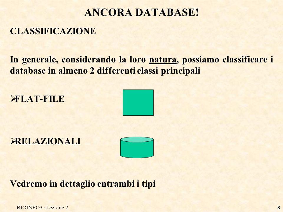 ANCORA DATABASE! CLASSIFICAZIONE