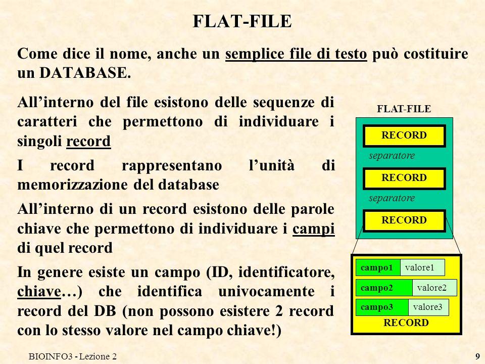 BIOINFO3 - Lezione2 FLAT-FILE. Come dice il nome, anche un semplice file di testo può costituire un DATABASE.