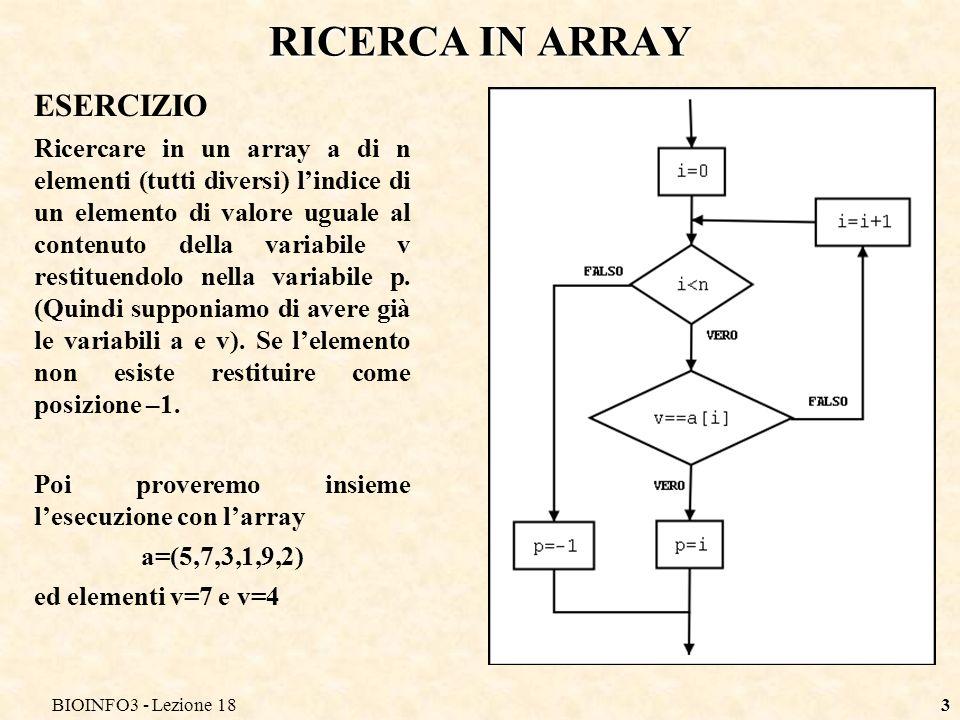 RICERCA IN ARRAY ESERCIZIO