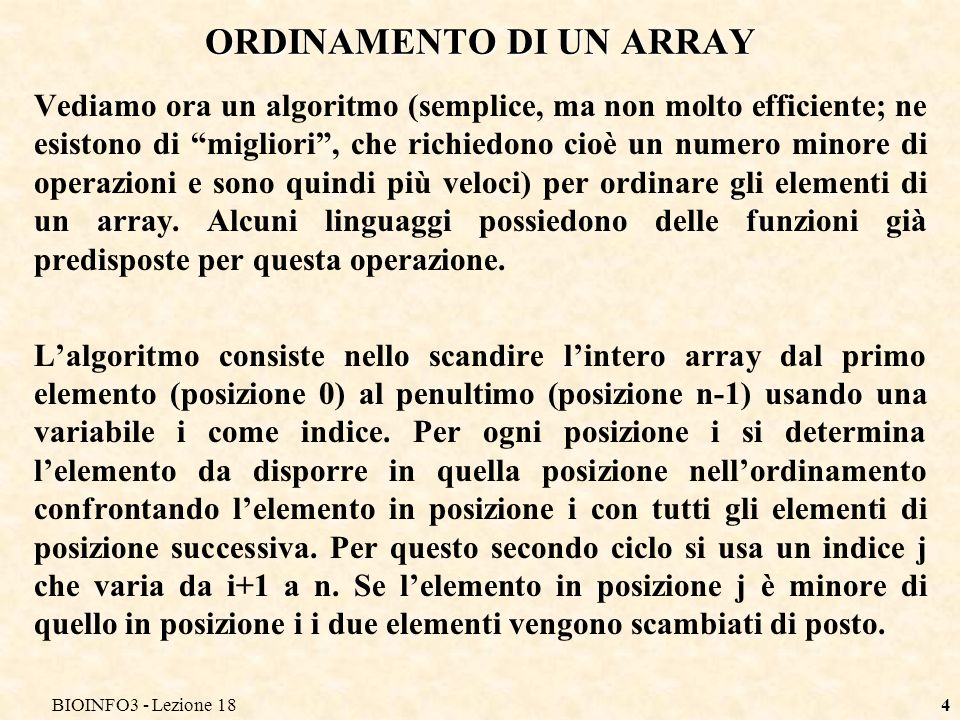 ORDINAMENTO DI UN ARRAY