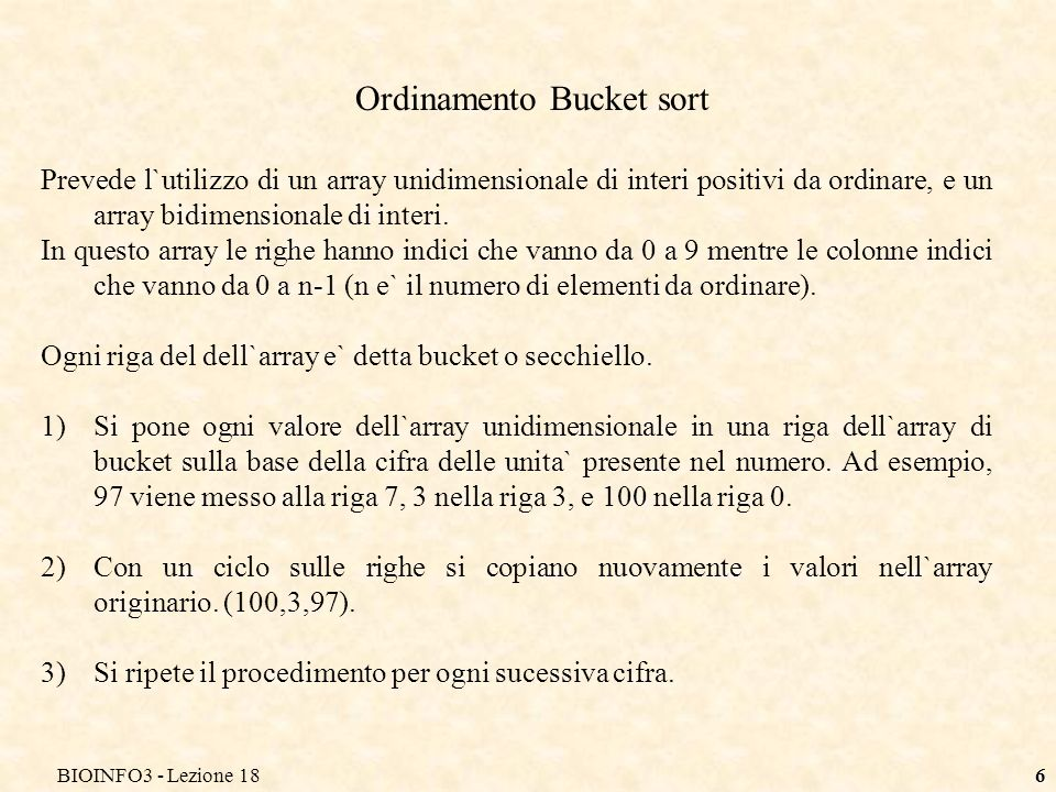 Ordinamento Bucket sort