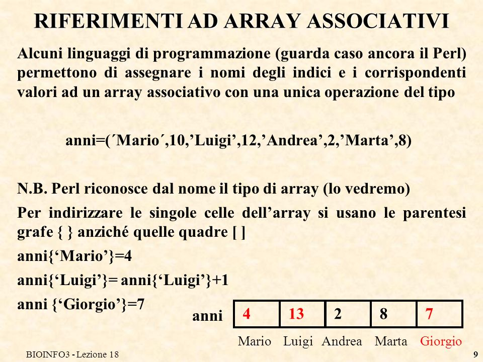RIFERIMENTI AD ARRAY ASSOCIATIVI