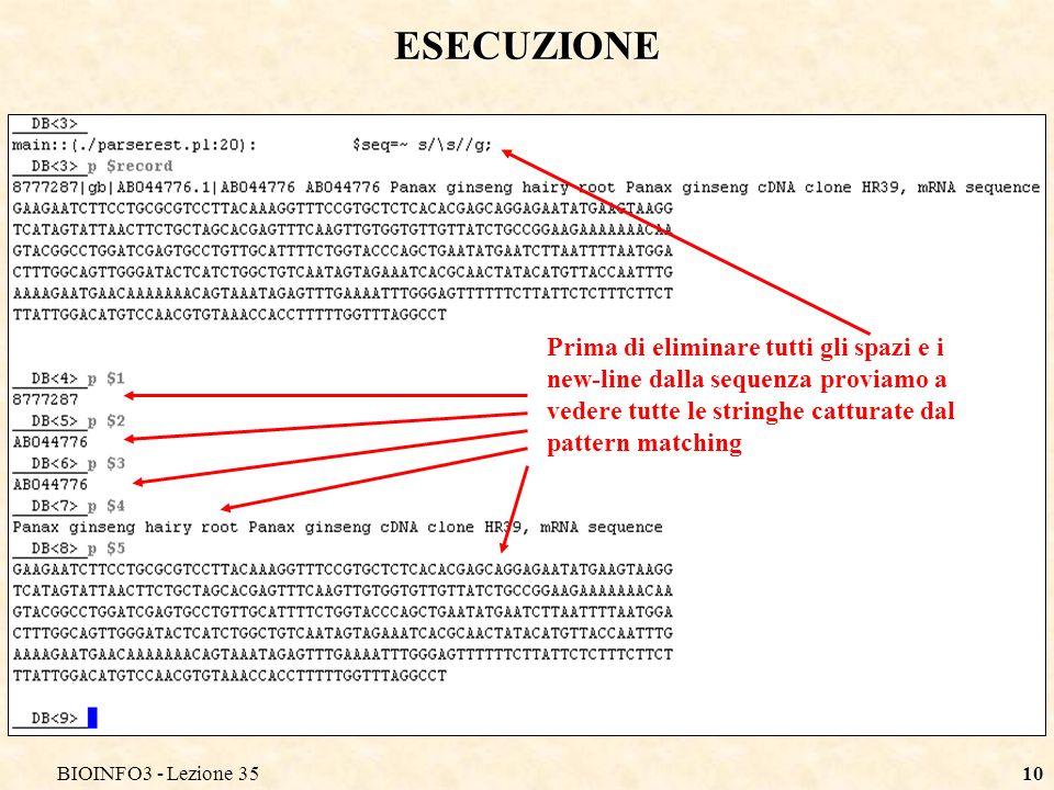 BIOINFO3 - Lezione 35 ESECUZIONE.