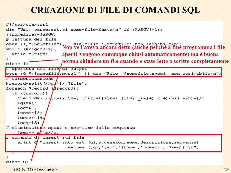 CREAZIONE DI FILE DI COMANDI SQL