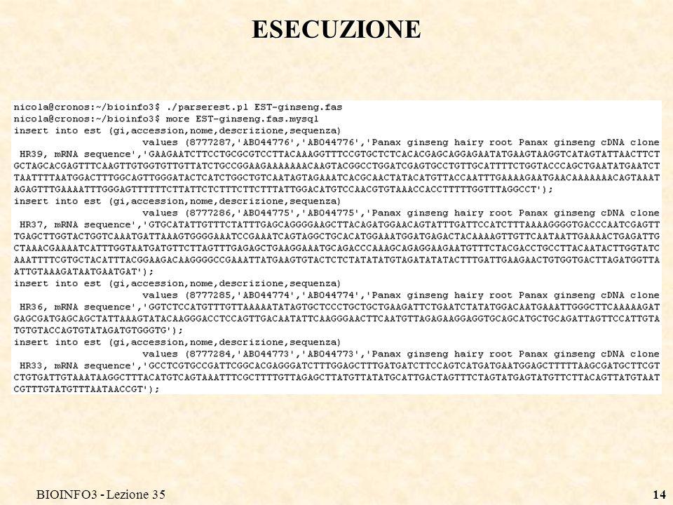 BIOINFO3 - Lezione 35 ESECUZIONE BIOINFO3 - Lezione 35