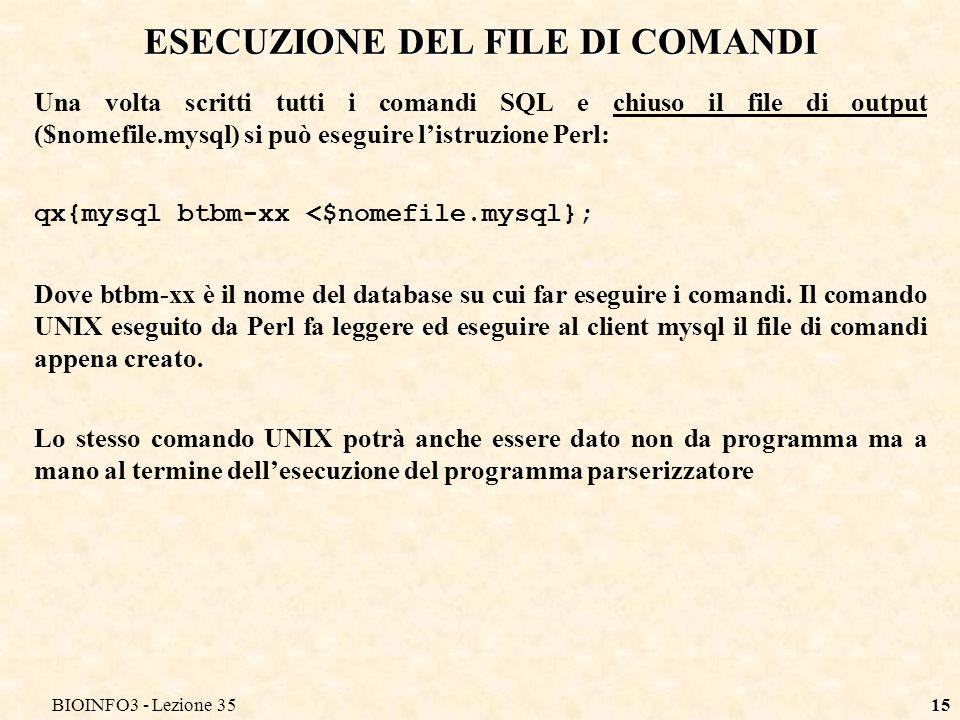 ESECUZIONE DEL FILE DI COMANDI