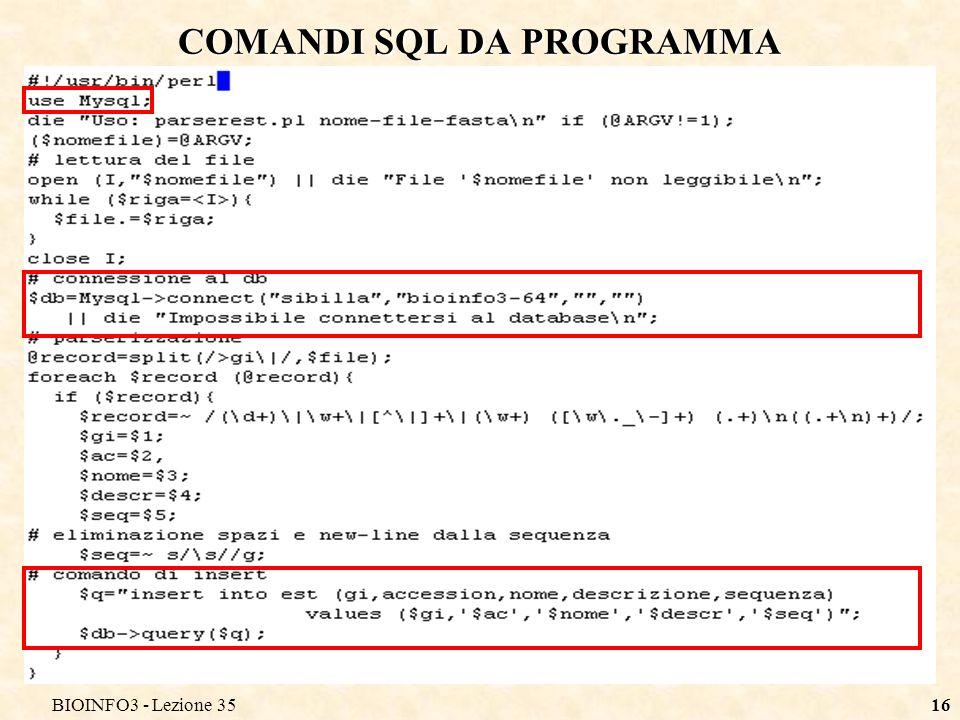 COMANDI SQL DA PROGRAMMA