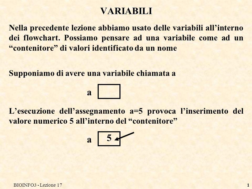 BIOINFO3 - Lezione 17 VARIABILI.