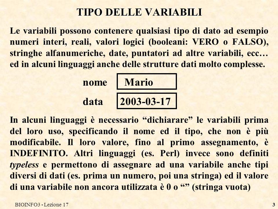 TIPO DELLE VARIABILI nome Mario data 2003-03-17