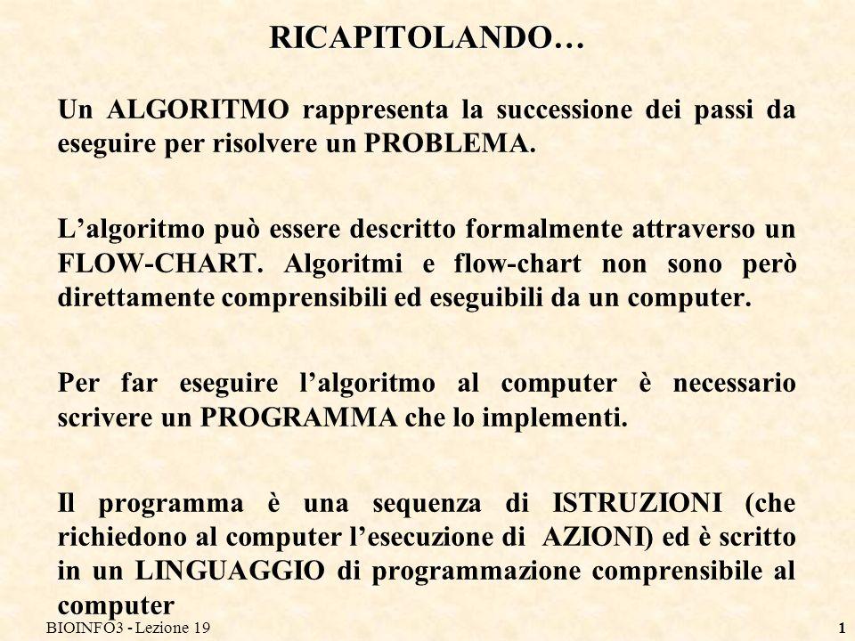 BIOINFO3 - Lezione 19 RICAPITOLANDO… Un ALGORITMO rappresenta la successione dei passi da eseguire per risolvere un PROBLEMA.