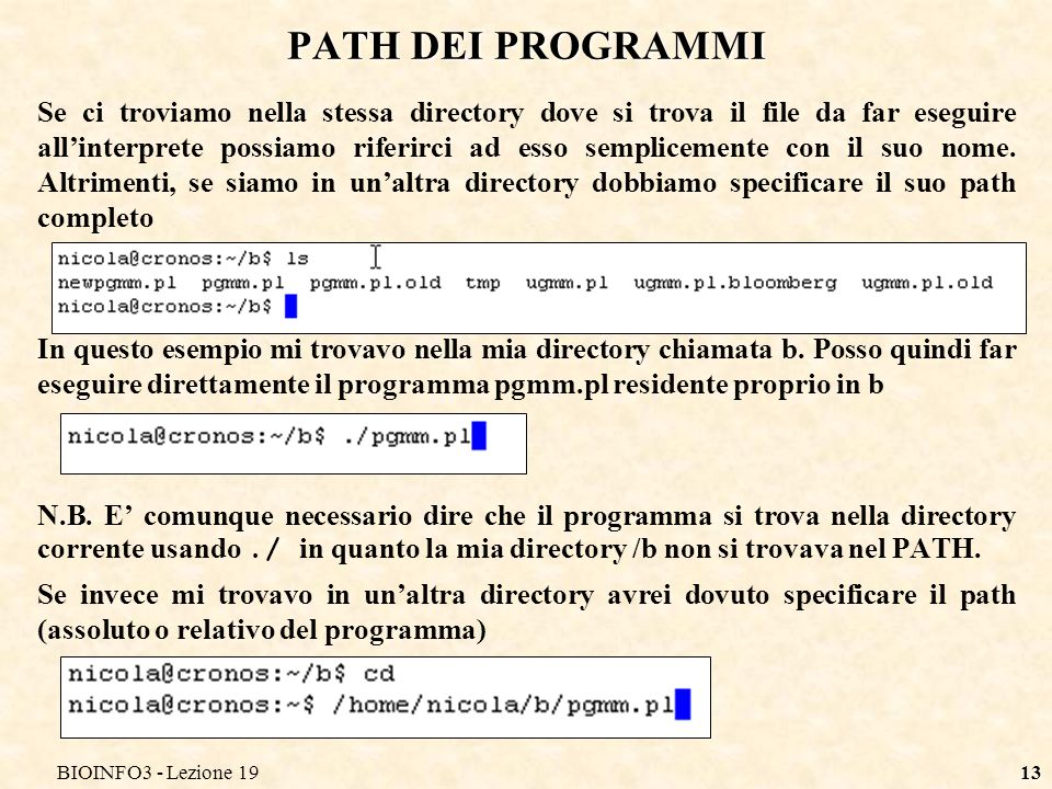 BIOINFO3 - Lezione 19 PATH DEI PROGRAMMI.