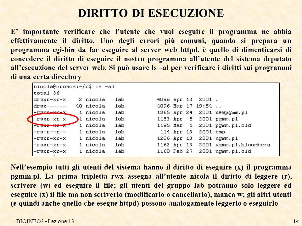 BIOINFO3 - Lezione 19 DIRITTO DI ESECUZIONE.