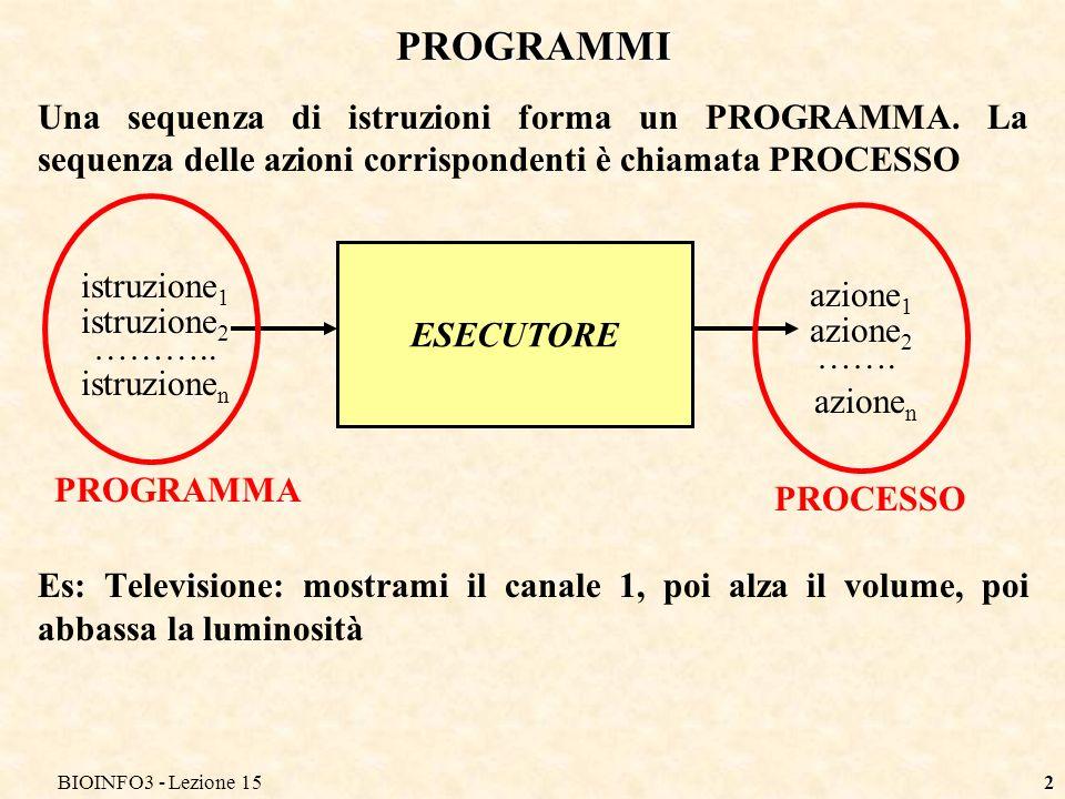 BIOINFO3 - Lezione 15 PROGRAMMI. Una sequenza di istruzioni forma un PROGRAMMA. La sequenza delle azioni corrispondenti è chiamata PROCESSO.