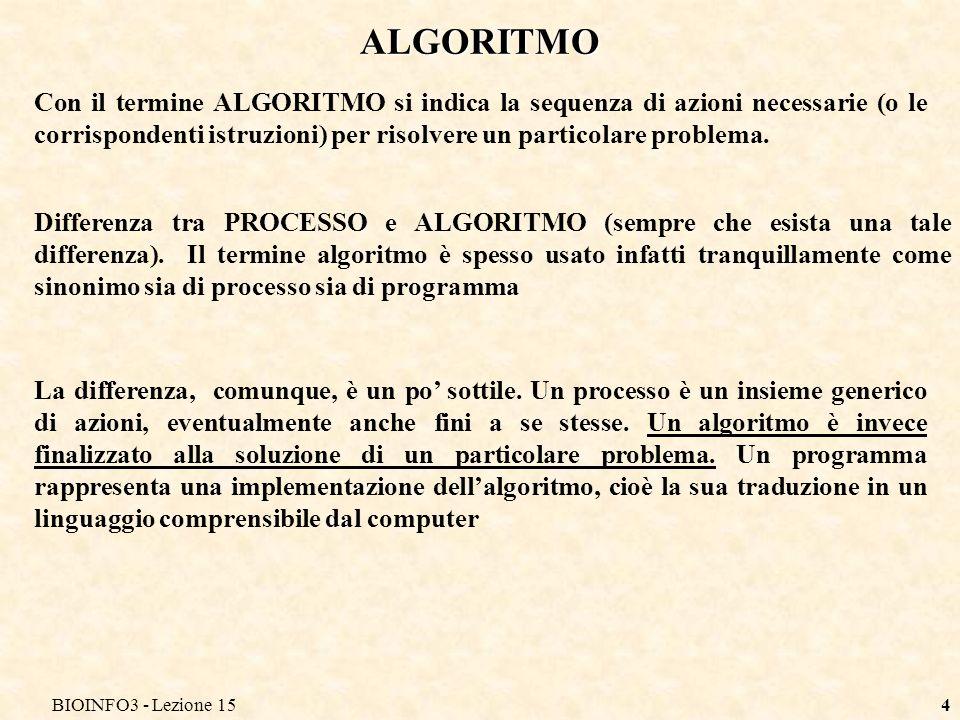 BIOINFO3 - Lezione 15 ALGORITMO.