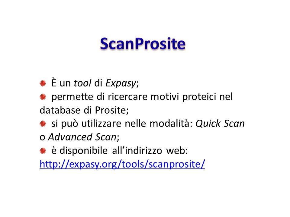 ScanProsite È un tool di Expasy;
