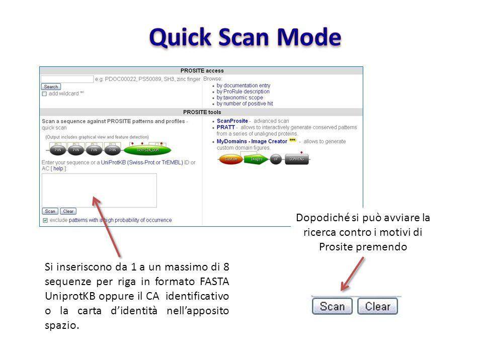 Quick Scan ModeDopodiché si può avviare la ricerca contro i motivi di Prosite premendo.