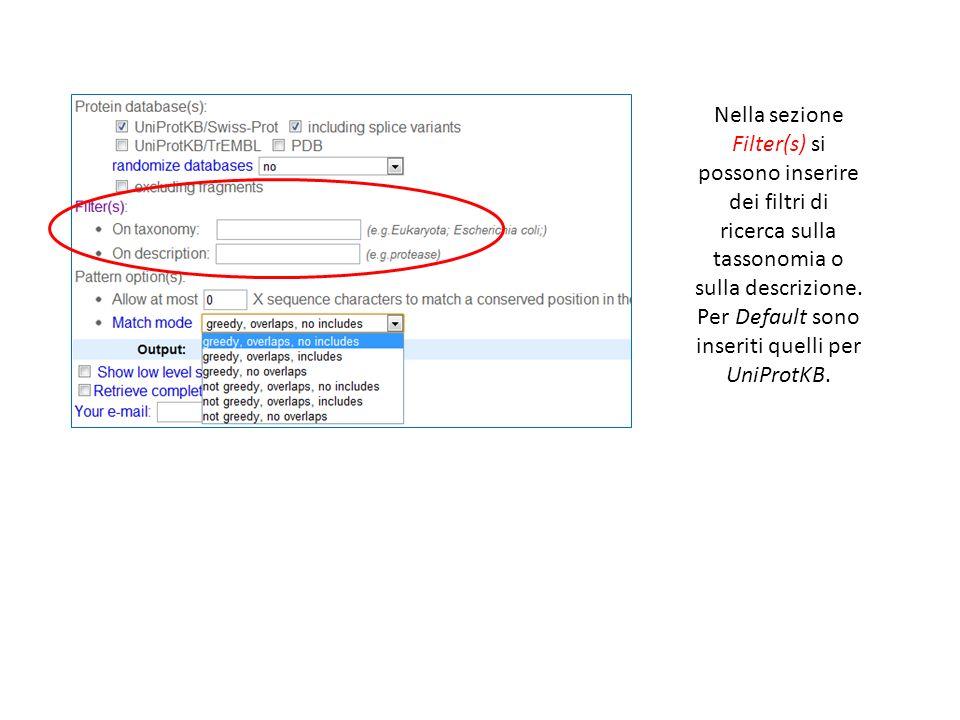 Nella sezione Filter(s) si possono inserire dei filtri di ricerca sulla tassonomia o sulla descrizione.