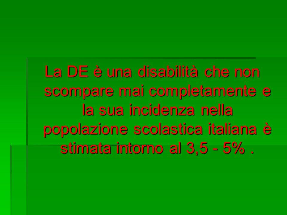 La DE è una disabilità che non scompare mai completamente e la sua incidenza nella popolazione scolastica italiana è stimata intorno al 3,5 - 5% .