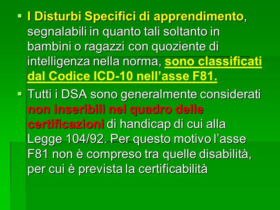 I Disturbi Specifici di apprendimento, segnalabili in quanto tali soltanto in bambini o ragazzi con quoziente di intelligenza nella norma, sono classificati dal Codice ICD-10 nell'asse F81.