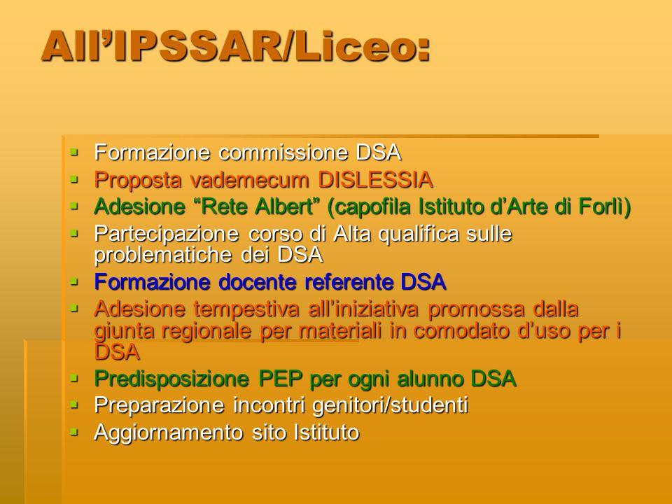 All'IPSSAR/Liceo: Formazione commissione DSA