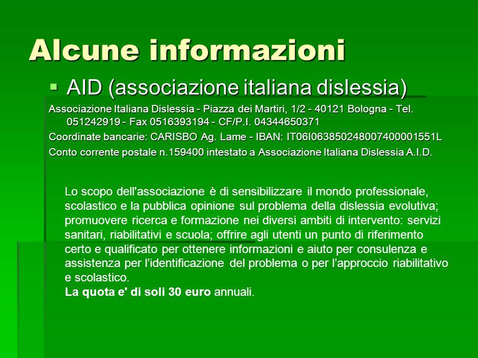 Alcune informazioni AID (associazione italiana dislessia)