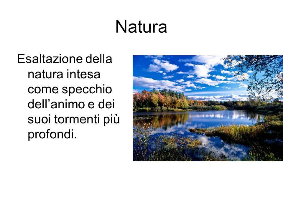 Natura Esaltazione della natura intesa come specchio dell'animo e dei suoi tormenti più profondi.