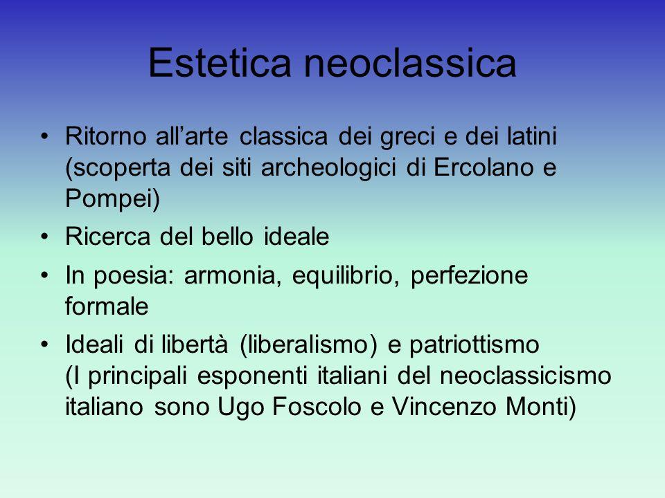 Estetica neoclassica Ritorno all'arte classica dei greci e dei latini (scoperta dei siti archeologici di Ercolano e Pompei)